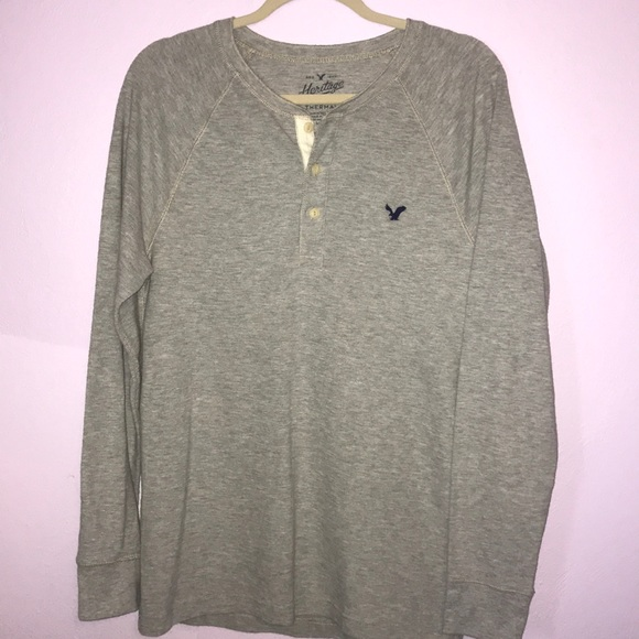 cd12abf4 American Eagle Outfitters Other - Men's American Eagle Grey Thermal Henley